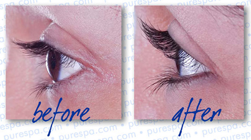 Lash Perm before and 